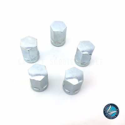 Vespa PX T5 LML Silver Flat Top M8 Nut Kit For Sip Tubeless Rims x 5