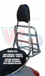 Vespa GTS GTV New Cuppini Chrome Backrest - Fits With Original Rear Carrier