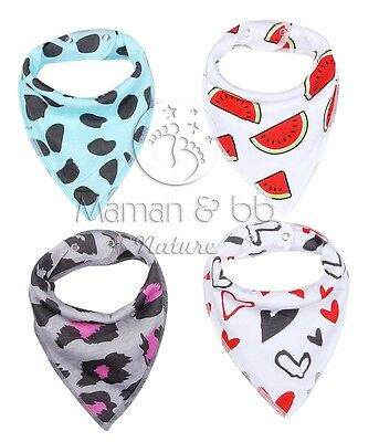Lot 4 Bavoirs Bandana Bebe Enfant Coton Ultra Absorbant Vetement Fruit Leopard