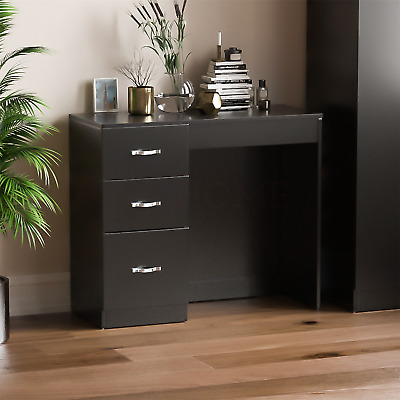 Riano Black 3 Drawer Dressing Table Vanity Desk Bedroom Storage Furniture
