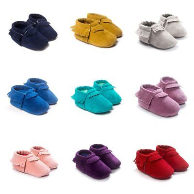 Cute Baby Kids Boys Girls Tassel Leather Shoes Toddler Moccasin Soft Crib Shoes