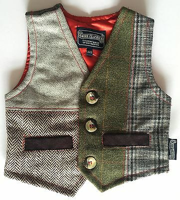 Children's Tweed Waistcoat - Red Lining - Sizes 6-months-8 Yrs - Shire Classics