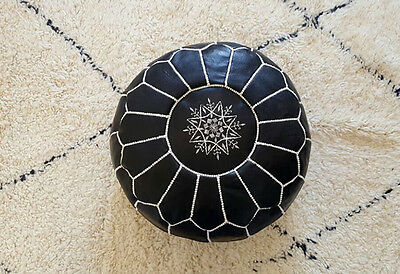 Moroccan Leather black white stitchings pouf - unstuffed