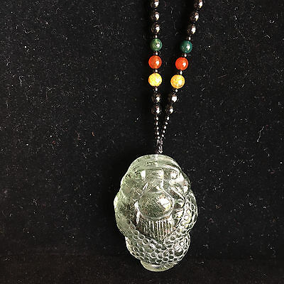 31.4g CHINESE CARVED NATURAL Green Phantom ROCK CRYSTAL TOAD&NECKLACE