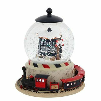 Luville Waterball Christmas Wind Up Musical Snow Globe with Train and Station