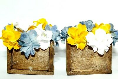 Handmade Miniature Floral Arrangements For 1:12 Scale Dollhouse set Of 2