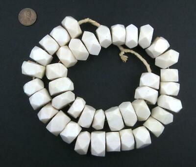 White Bone Beads Faceted 20mm Kenya African Unusual Large Hole 26 Inch Strand