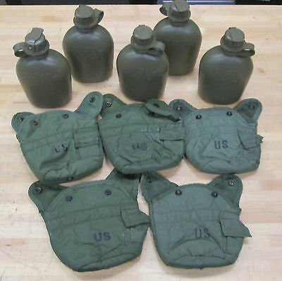 (5) Us Military 1 Qt Canteens & Olive Green Covers  ~New Surplus~