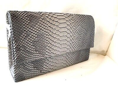 New Grey Textured Faux Snake Leather Evening Day Clutch Bag Halloween Xmas Party