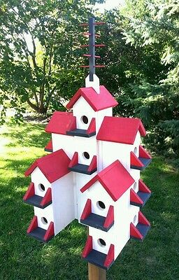 Purple Martin Bird House. Made in Canada, stained white, red and blue.