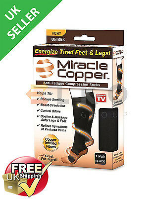 NEW Miracle Copper Socks Anti Fatigue Compression Socks Stocking Control Odors