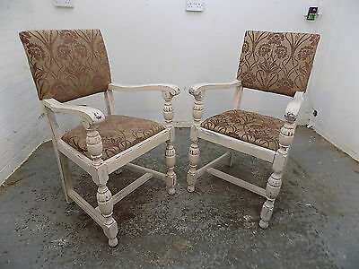pair,vintage,1940's,arm chairs,chairs,carvers,painted,white,turned legs,hall