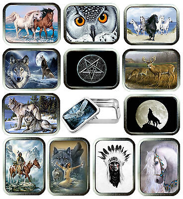 INDIAN 2oz SILVER TOBACCO TIN,STASH CAN,STORAGE TIN,15 DESIGNS TO CHOOSE FROM