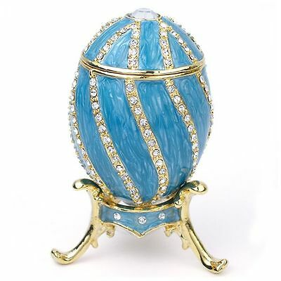 """Russian Style Teal Spiral Egg Trinket Box with Stand 3"""" Tall Faberge Inspired"""