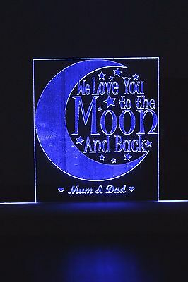 Personalised engraved RGB Light changing colour. Love you to the moon and back