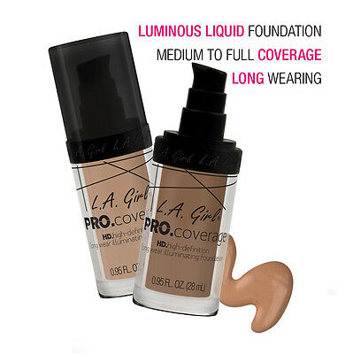 L.A. GIRL Pro.Coverage Set HD Long Wear Illumination Liquid Foundation Face 28ml