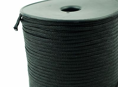 Black Polyester Braided Rope Nylon Cord Heavy Duty Extra Strong Polyester 4 mm