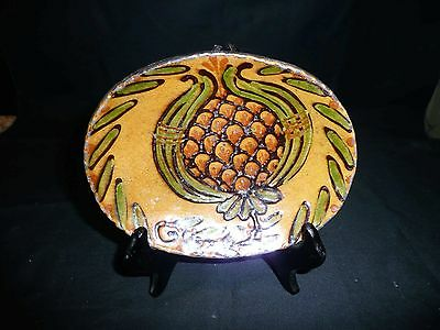 Greg and Mary Shooner Redware Plate with Pineapple - Mary - 2005
