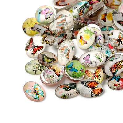 Butterfly Glass oval Cabochon 30mm Charms Crafts Embellishments Beads jewellery