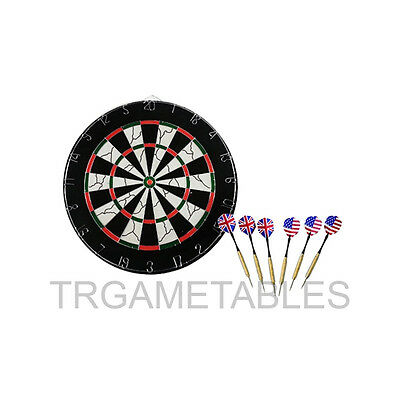 "18"" Dart Board Set - 6pcs Darts & Two Side Printing Dart Board for Game Room AU"