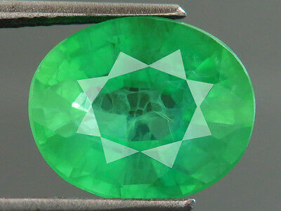 6.40ct Lab-created COLUMBIAN EMERALD CHATHUM OVAL INDUCED INCLUSION 10 x12 MM