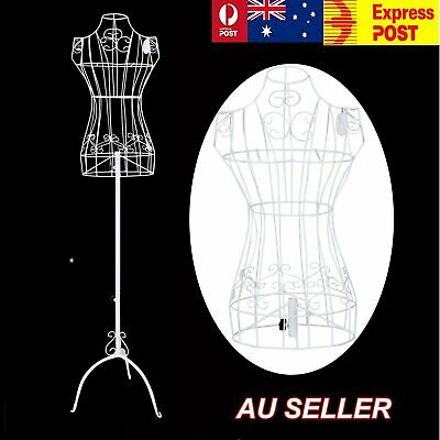 1x Female Vintage Mannequin White Wrought Iron Wire Adjustable Height Hanger Wed