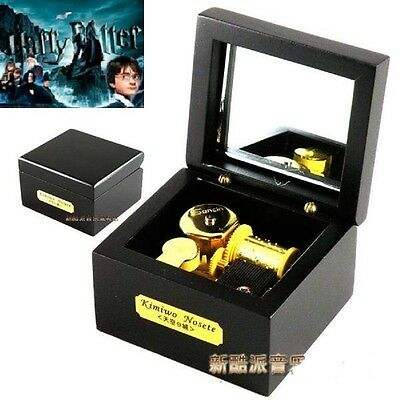 Square Black Wood Wind Up Music Box  : Harry Potter Hedwig's Theme