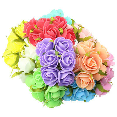 120Pc Handmade 25mm Mixed Color silk flower Artificial Rose Flower Wedding Craft