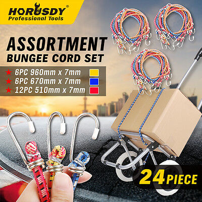 24 Piece Bungee Cord Set Octopus Occy Strap Elastic Tie Down