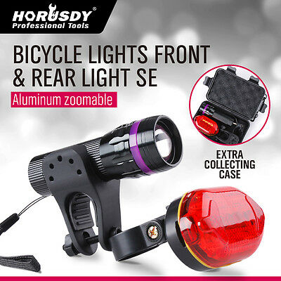 LED Bike Bicycle Front Head Light headlight lamp + rear tail flashlight torch
