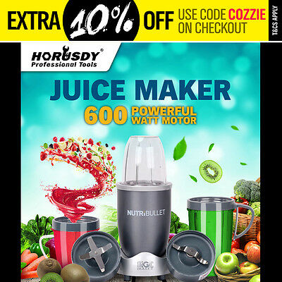 NutriBullet 12Pcs Juicer Mixer Extractor Fruit Vegetable Blender 600W Silver New