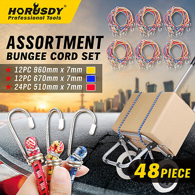 48 Piece Bungee Cord Set Octopus Occy Strap Elastic Tie Down