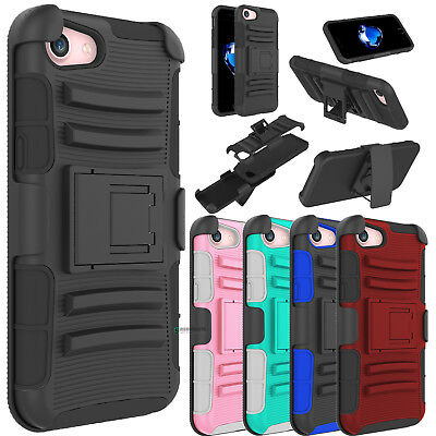 Shockproof Hybrid Phone Case Kickstand Holster Clip Cover For iPhone 7 / 8 Plus