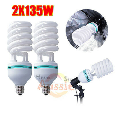 2x135w Daylight Bulbs Photo Lighting Studio Compact Fluorescent Lamp E27 5500K
