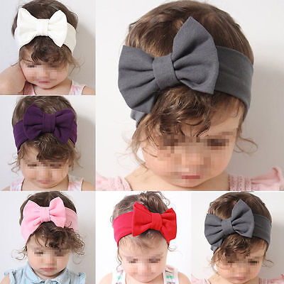 Toddler Girls Baby Kids Big Bow Headband Hairband Stretch Turban Knot Head Wrap