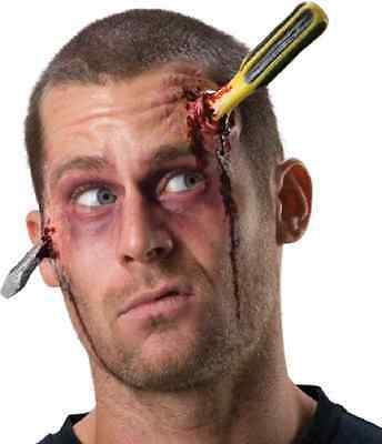 Screwed Up Screwdriver Stab Wound Halloween Costume Makeup Latex Prosthetic