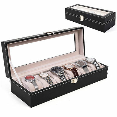 6 Grid Faux Leather Watch Case Storage Display Box Organiser Glass Top Pillows