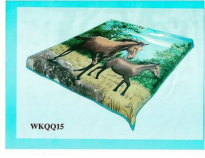Horses Fuzzy Soft Warm Blanket 60 X 80 New
