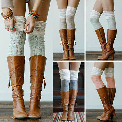 Fashion Women Over the knee socks thigh high crochet lace Pointelle scrunch sock