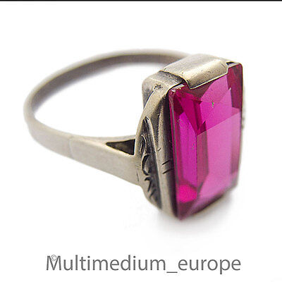 Art Deco Silber Ring rubin farbener Spinell silver ring ruby color