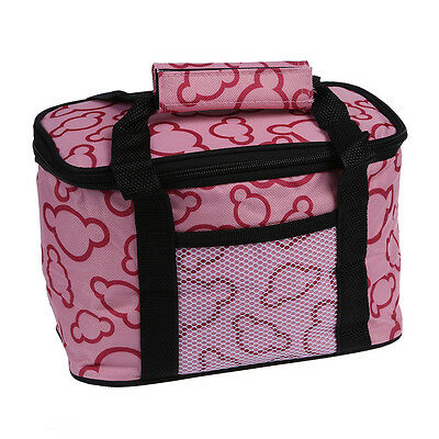 Insulated and Water-Proof Lining Lunch Box Bag Cooler Tote Bag--Pink DT