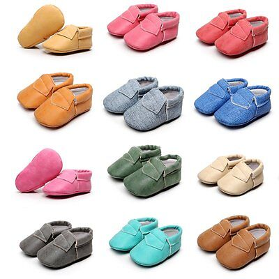 Newborn To 0-30month Baby Soft Crib Shoes Leather Prewalkers Boys Girls Non-Slip
