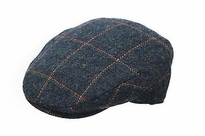 SALE New Mens Blue Check Windowpane Tweed Newsboy Country Outdoor Flat Cap BL94