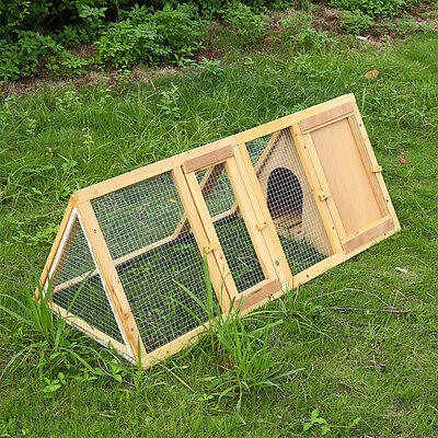 Wooden Outdoor Triangle Rabbit Hutch and Run Guinea Pig Ferret Chicken Coop Cage