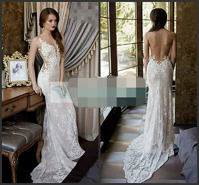 Sexy Lace Wedding Dress Ivory/White Sheer Back Bridal Gown Size Custom 4 6 8 10+