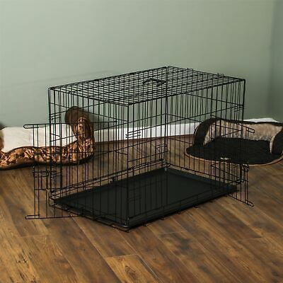 Pet Cage 42 Inch Dog Animal Crate Home Folding Metal 2 Door Training Kennel