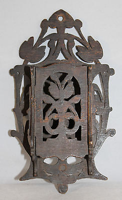 "Vintage Art Nouveau Style Stained Wood Wooden Wall Pocket  8.5"" Long"