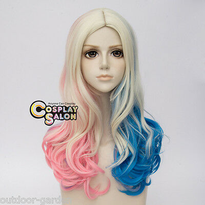 Halloween Mode Blond Blau Rosa Mix Lang Wavy Cosplay Perücke For Harley Quinn