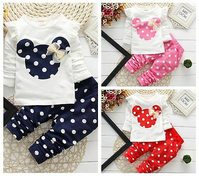 2pcs Baby Toddler Girls Cotton Tops+Pants Outfits&Set Spring Clothes Polka Dot
