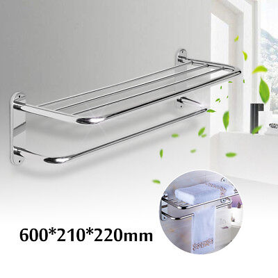 Bathroom Kitchen Wall Mounted Towel Polished Rack Storage Holder Rail Stainless